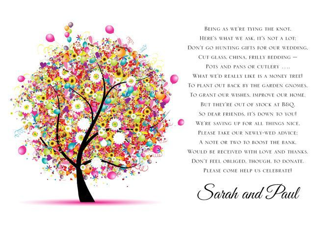 Wedding Gift List Poem: Like The Tree Theme In This Poem. Would Look Cool On Brown