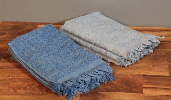 Vintage 1950 S Cannon Mills Blue Hand Towel Set Plush Cotton Face