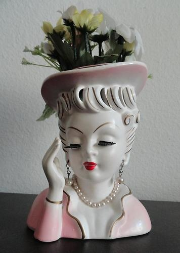 "5"" Ceramic Lady Head Vase Pink 70 I thought of you Amy (I used to have a whole collection of lady head vases.  Still love them.   ASW)"
