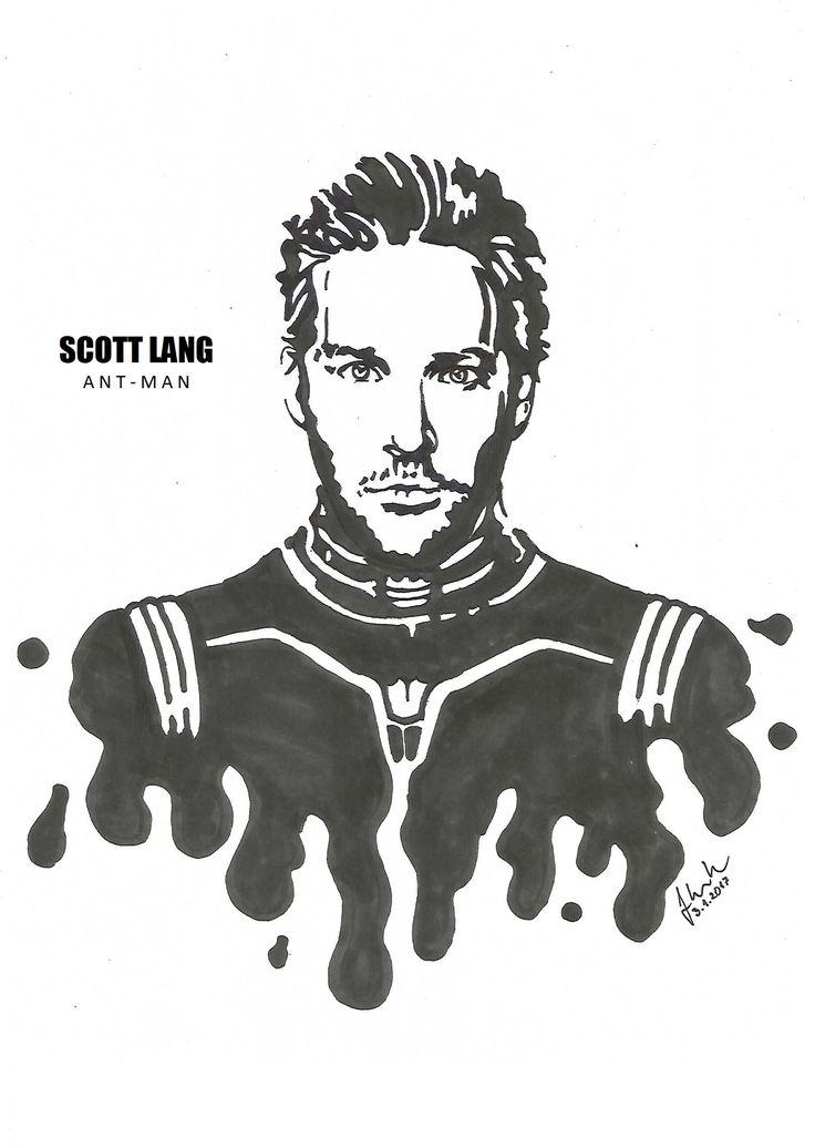 #scott #lang #antman #ant #man #paul #rudd #drawing #blackandwhite #marvel #ant-man