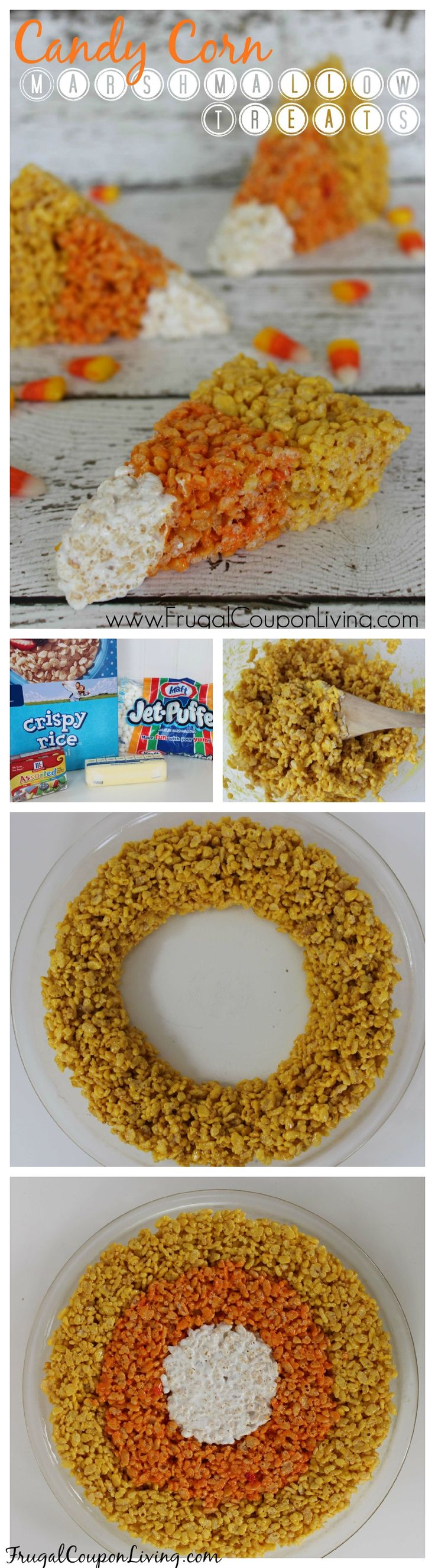 Candy Corn Rice Krispie Treats for Halloween Season #halloween #candycorn #ricekrispietreats #ricekrispies #october #party #treats http://www.frugalcouponliving.com/2014/09/01/candy-corn-rice-krispie-treats/