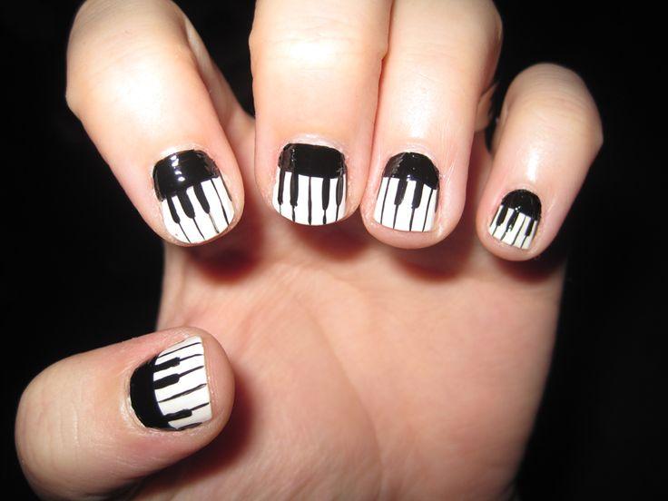 Piano Nail Art by IndigoVelvet.deviantart.com