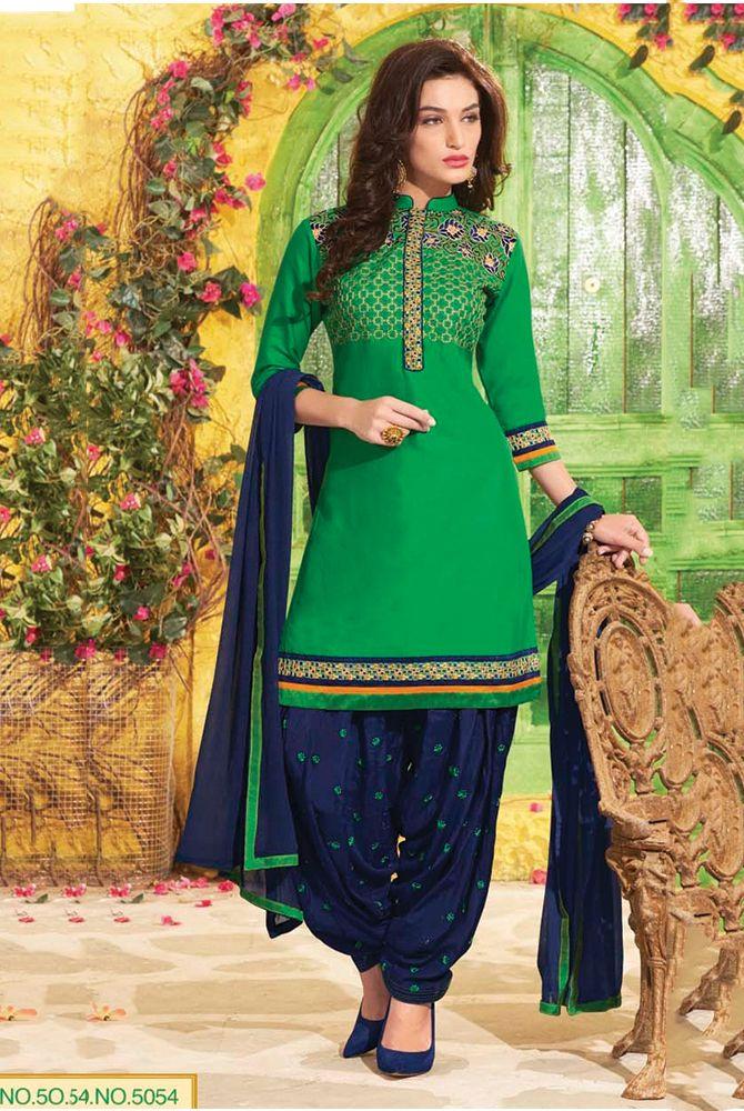 Green Patiala Style Salwar Kameez Has Contrast Colored