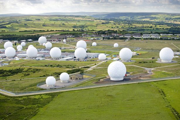 The Department of Defence monitoring station at Harrogate, Menwith Hill