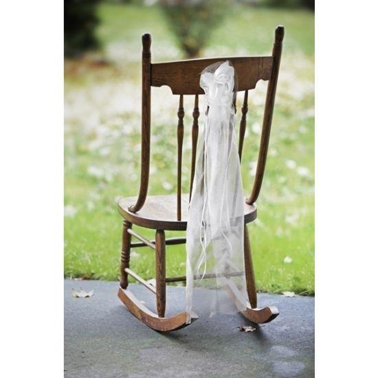 Bruiloft stoel decoratie met organza. Witte stoel decoratie met organza. Lengte: ongeveer 90 cm. Ideaal voor het verfraaien van stoelen, kerkbanken. U ontvangt 2 stuks.