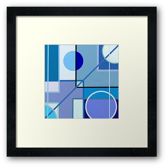 Geometric digital painting with blue hues Silvia Ganora  • Also buy this #artwork on wall #prints, #apparel, #stickers, and more. #redbubble #artprints #geometric #shapes #modern