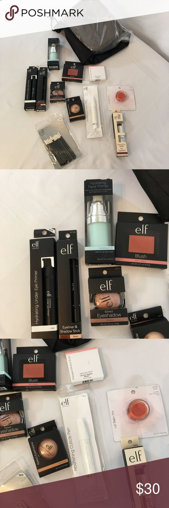 "ELF Makeup Bundle Brand new/never opened ELF makeup bundle. Includes all shown: makeup bag: 8"" x 6"" x 2"", drawstring black bag, hydrating face primer, undereye primer, 2 baked eyeshadows, 2 blushes, disposable lip gloss wands, moisturizing cuticle pen, lip gloss, lip stick & eye liner/shadow stick. All NWT!! No trades ELF Makeup"