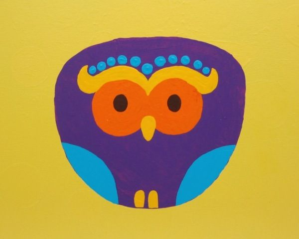 Owl with yellow background - Acrylic painting on canvas