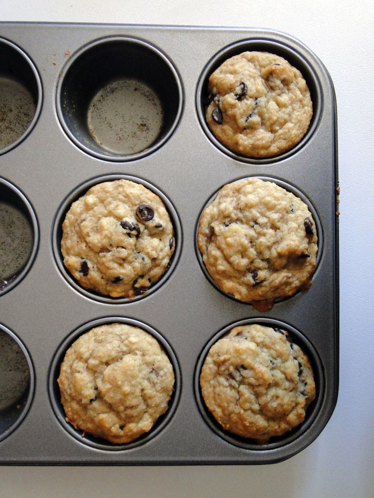 chocolate chip banana muffins. Made with leftover almond pulp from making almond milk!