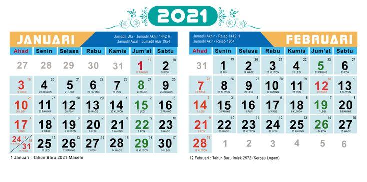 Desain Kalender 2021 Lengkap dengan Tanggal Hijriyah dan ...
