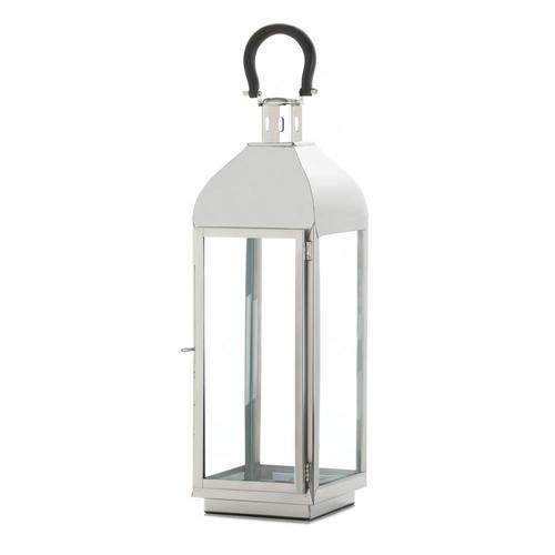 Stately and stunning, this large gleaming candle lantern will amplify the sparkle and shine of your favorite candle. The sleek frame holds four clear glass panels that will let the light shine bright and a black top loop for contrasting cool.  Candle not included.