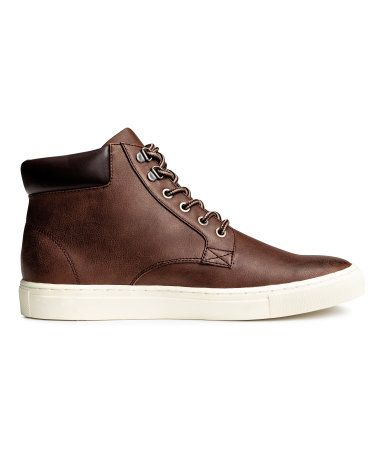 Dark cognac brown. High tops with a padded edge at top and lacing at front