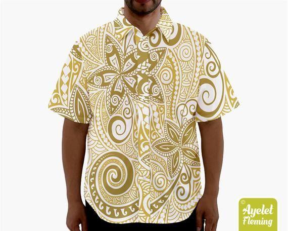 Polynesian shirt Shades of blue floral bowling shirt S-5XL Hawaiian shirt men