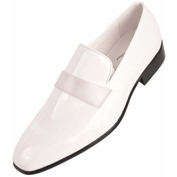 Amali Mens White Classic Patent Tuxedo Slip On Dress Shoe with Patent... ($15) ❤ liked on Polyvore featuring men's fashion, men's shoes, men's dress shoes, mens white loafers, mens dress loafers, mens loafers, mens white shoes and mens wide width shoes