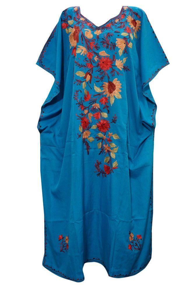 MUUMUU DRESS BLUE KASHMIRS EMBROIDERED KAFTAN MOROCCAN SILK CAFTAN RESORT WEAR #mogulinterior #CaftanNighty #SummerBeach