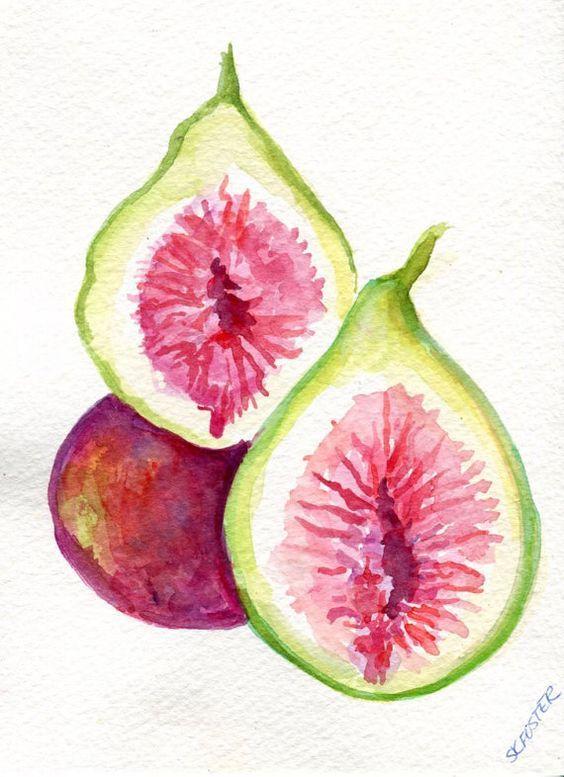 Elegant Figs Original Watercolor Painting, Small Fruit Artwork. Kitchen Wall Art,  Figs Watercolors Paintings
