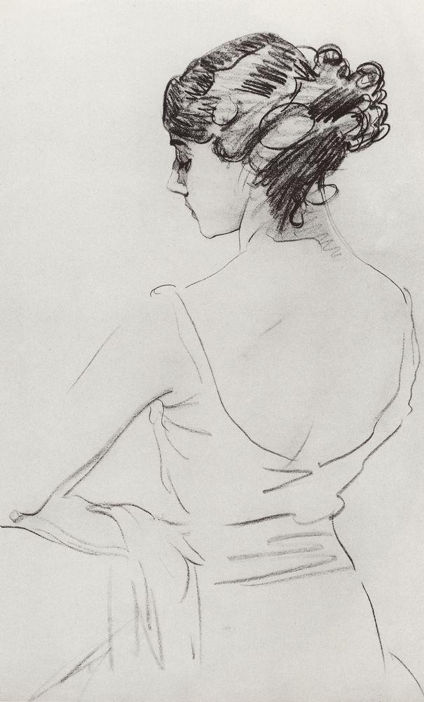 Valentin Serov (Russian, 1865-1911) Portrait of the ballet dancer, Tamara karsavina. (1909)