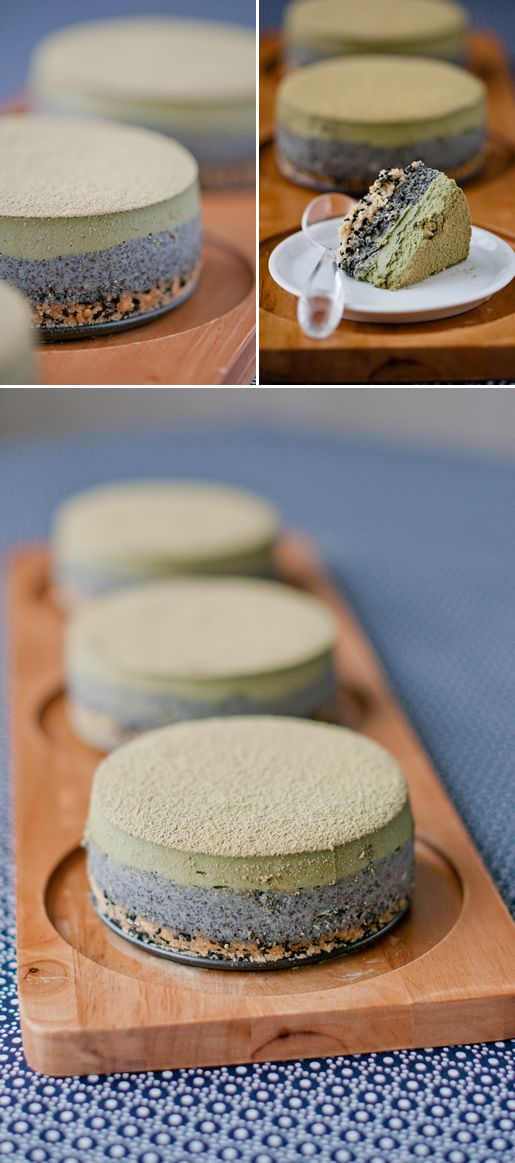 Matcha Sesame Cheesecakes. Definitely trying this recipe, but doubling it for my 9 inch springform pan.