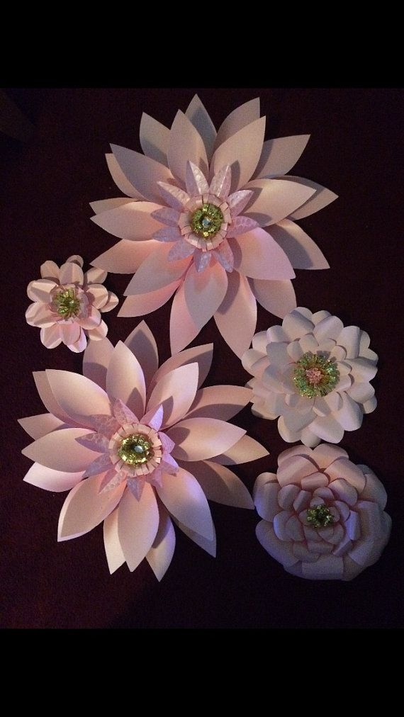 Giant Pink Paper Flowers - Metallic Pink - gemstone and glitter gold centers