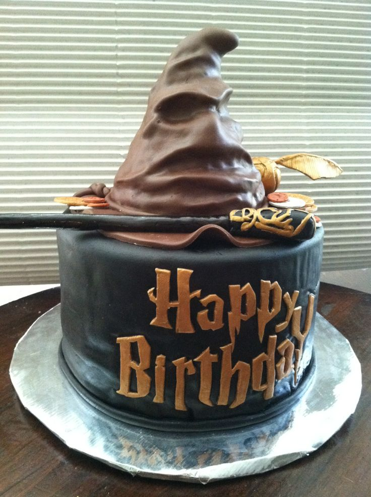 Harry Potter Sorting Hat Birthday Cake - Hat is RKT. Everything else is covered in chocolate MMF.