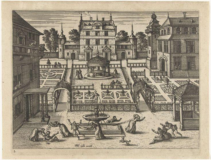 Pieter van der Borcht (I) | Spelen rond de fontein, Pieter van der Borcht (I), Philips Galle, 1545 - 1608 | Hoftuin met grote fontein op de voorgrond. Verspreid over de prent zijn paren te zien die samen wandelen. Op de voorgrond spelen verschillende mannen en vrouwen met het water van de fontein. Ze maken elkaar nat. Een hond (symbool voor de liefde) speelt met ze mee. Andere paren bekijken en wijzen naar het schouwspel. De serie toont verschillende aspecten van hofmakerij en enkele…