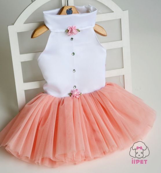 The Little Princess Tutu Dog Dress In Peach