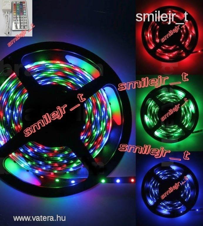 LED szalag RGB 5méter ledcsík TÁVIRÁNYÍTÓ, azonnal - 4150 Ft - Nézd meg Te is Vaterán - Izzó, led, égő - http://www.vatera.hu/item/view/?cod=1758672656