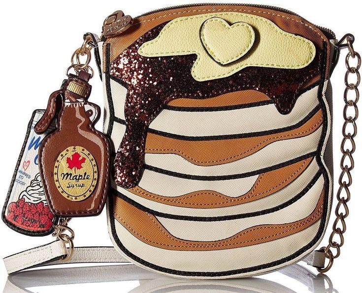 Betsey Johnson Pancake Crossbody Cake Of Pan Recipe Bag Heart Flapjacks Kitsch #BetseyJohnson #MessengerCrossBody
