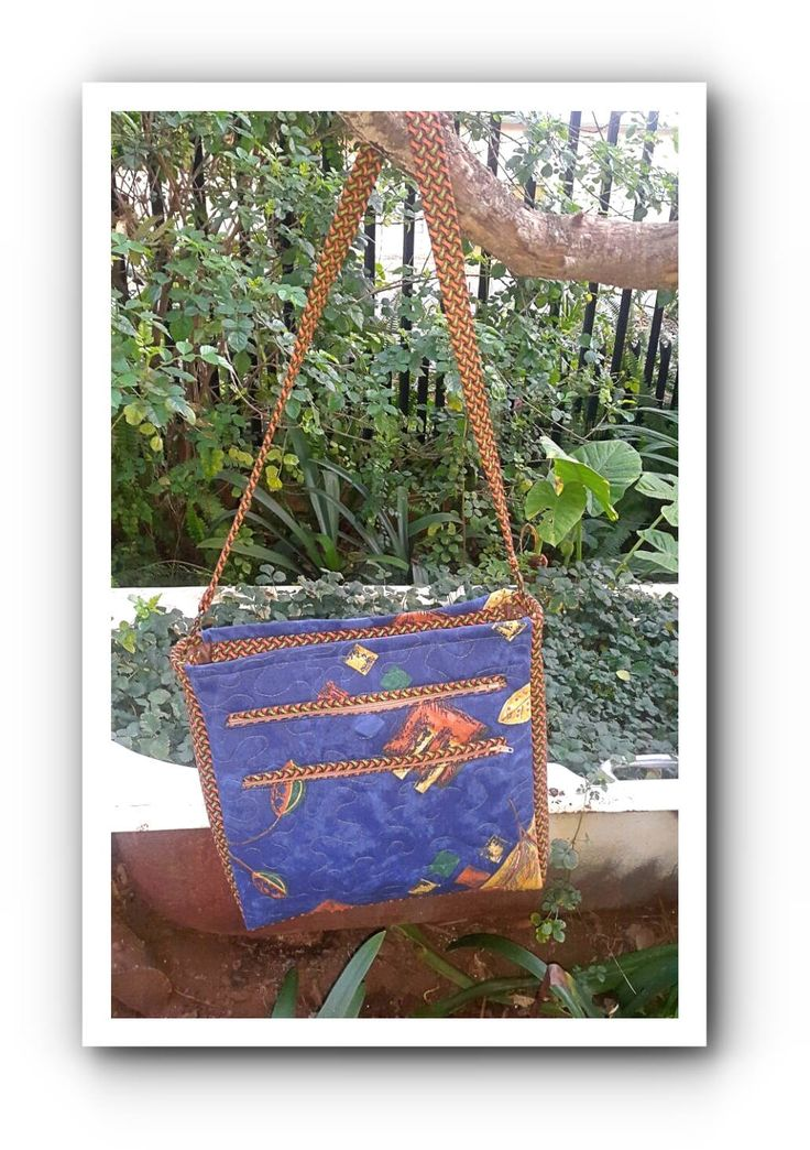 Blue with Green Brown Shweshwe Student bag by gogothabo on Etsy