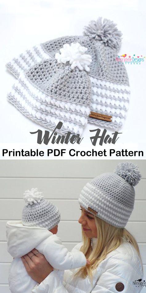 Make a cozy mommy & me hat. beanie crochet pattern…