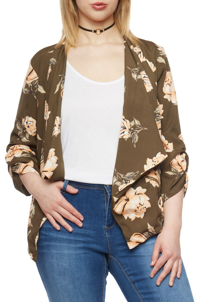 Plus Size Floral Draped Collar Blazer,OLIVE/PEACH F569,large