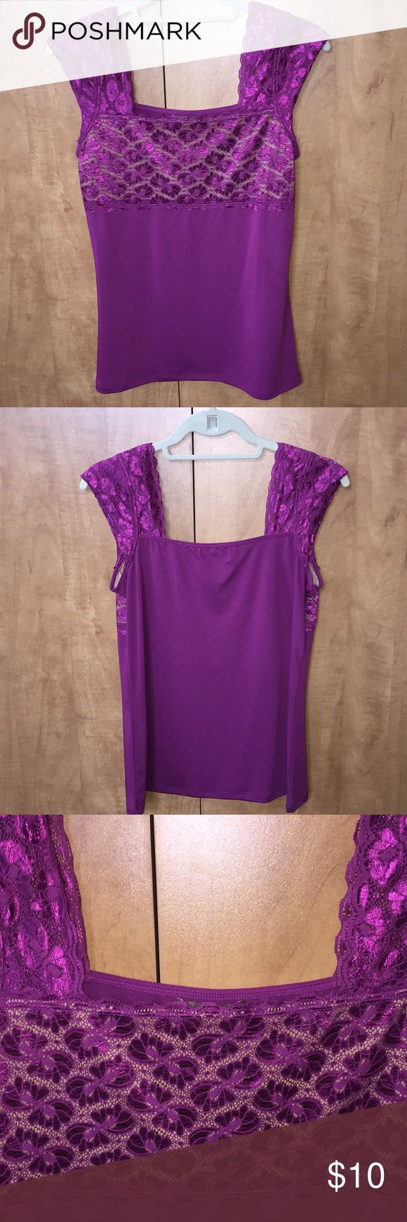 """Rich magenta lace top/cami Magenta lace top/cami. Square neckline. Bodice lines in nude. Solid bottom and back. Pockets inside shoulders for small removable shoulder pads for shaping under cardigans and jackets. Center back length from square neckline to hem about 18 1/2"""". Bust about 36"""". Stretch fabric. Kathleen Kirkwood Tops"""