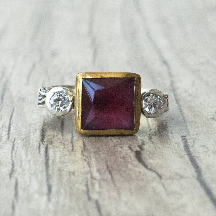 Square Ruby Ring, Sterling Silver and Gold Ring with Red Ruby and CZ Diamond
