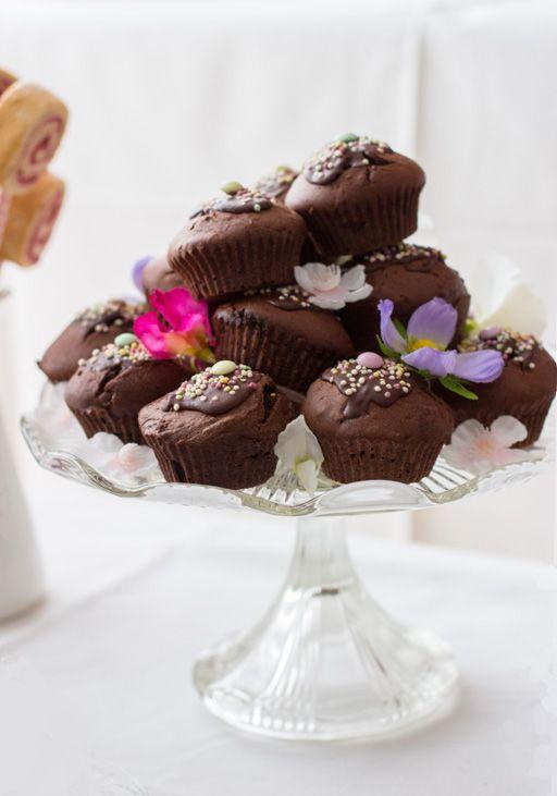 Besonders schokoladige gesunde Schokomuffins wahlweise vegan