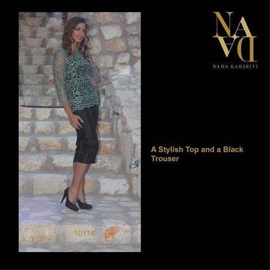 A stylish Top and a Black Trouser designed by Nada Kabariti. For orders contact: Jordan: 00962795086955 KSA & Bahrain: 00966597798178 Facebook: www.facebook.com/...