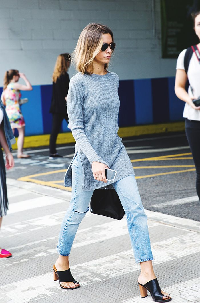 mules, tunic top and jeans