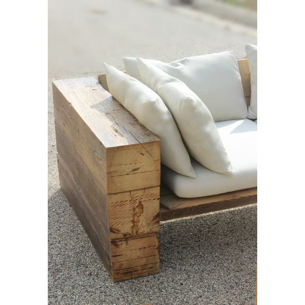 Rustic Sofa Couch Sectional Reclaimed Wood indoor/outdoor ($3,000) ❤ liked on Polyvore featuring home, outdoors, patio furniture, furniture, grey, home & living, grey outdoor furniture, grey patio furniture, rustic patio furniture and gray outdoor furniture