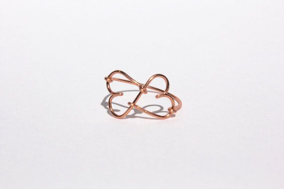 Rose Gold Infinity Heart Wire RIng by MeekAndNeek on Etsy