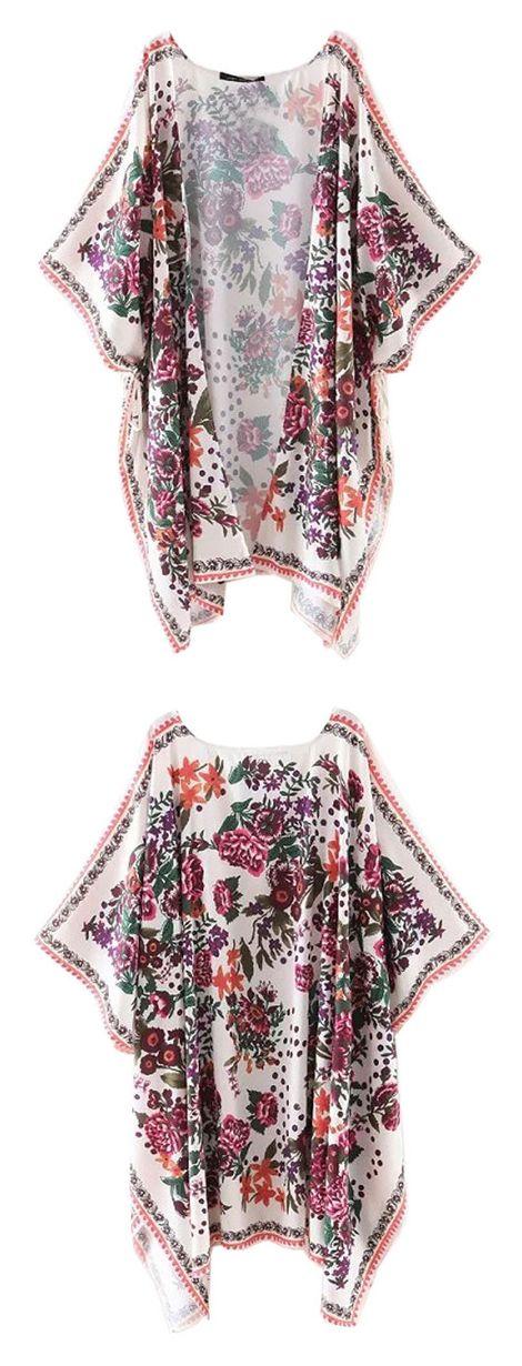 Floral Split Asymmetric Open Front Kimono
