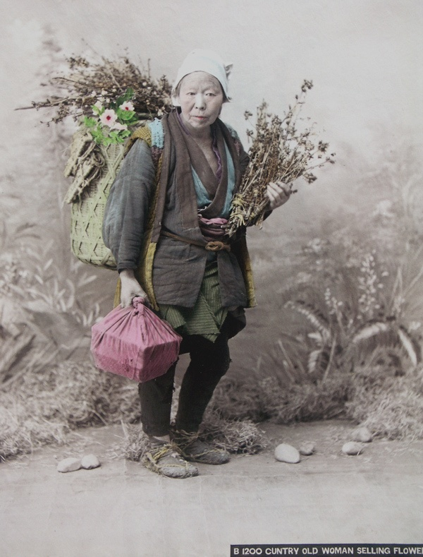 Japanese Peasant Woman.  The Japanese were surely  the masters at hand tinting photographs.