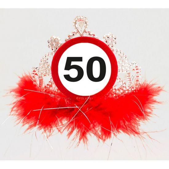 Tiara diadeem 50 jaar geworden van plastic. Leuk voor een 50ste verjaardag.
