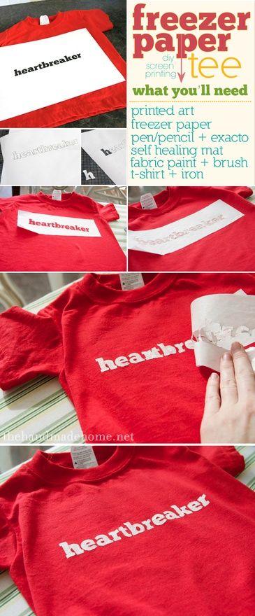 DIY screenprinting T-shirts or pillows.