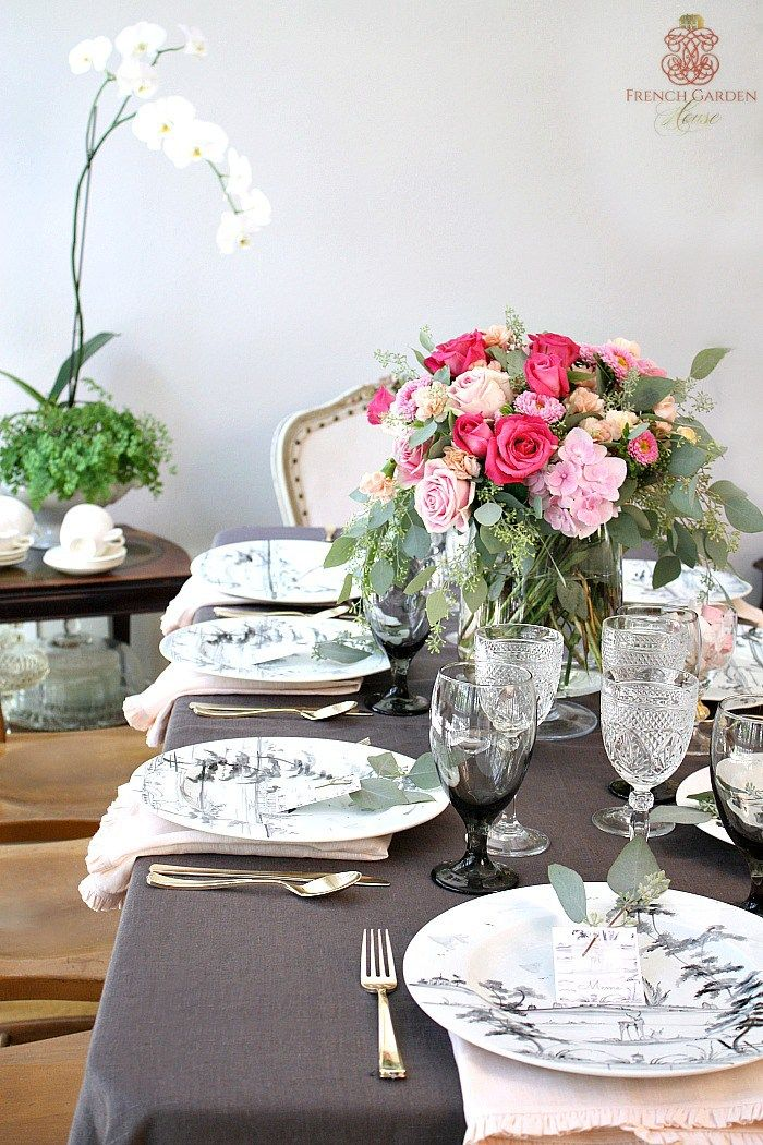 Romantic French Country Summer Table, French Country Dining Room Table Setup