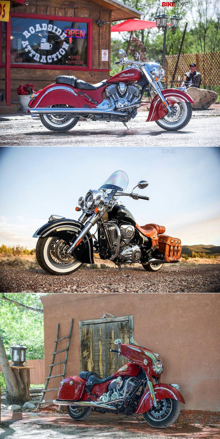 Here's a first look at the 2014 Indian Motorcycles—from top, the Classic, Vintage and Chieftain. Do you think they'll tempt cruiser riders away from Harley-Davidson?