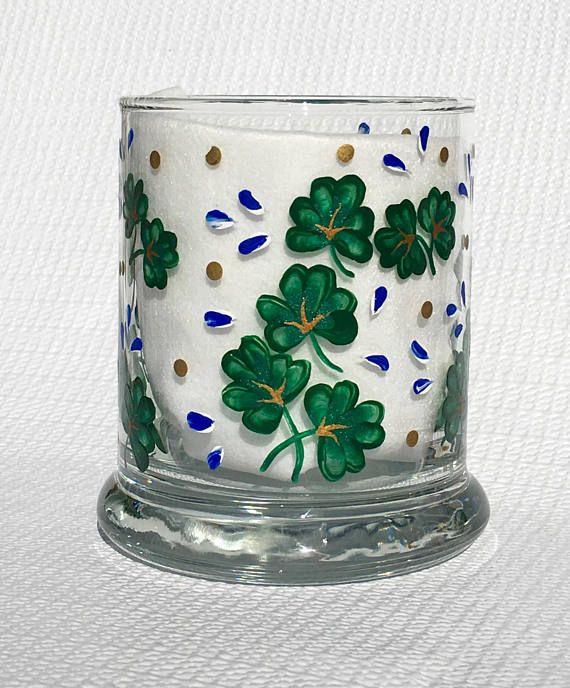 Candle Holder With Hand Painted Shamrocks and Blue Flowers, St. Patricks Day, Irish Decor, Irish Gifts For Her, Mothers Day Gift  #shamrockcandleholder #irishgifts #stpatricksday #mothersdaygifts #irishdecor #thankyougift #weddingshowergift