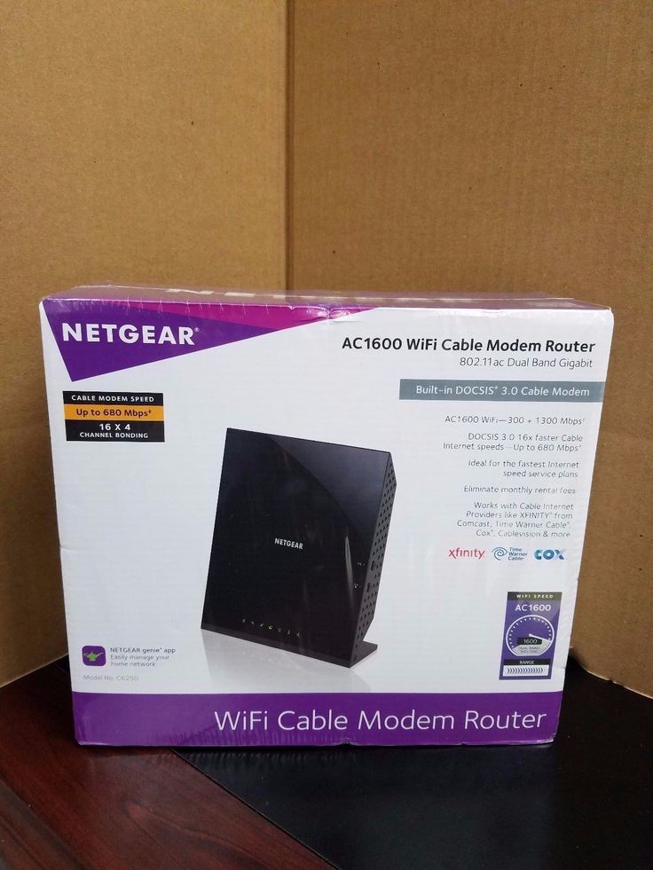 SEALED Netgear AC1600 Dual-Band WiFi Cable Modem Router C6250-100NAS