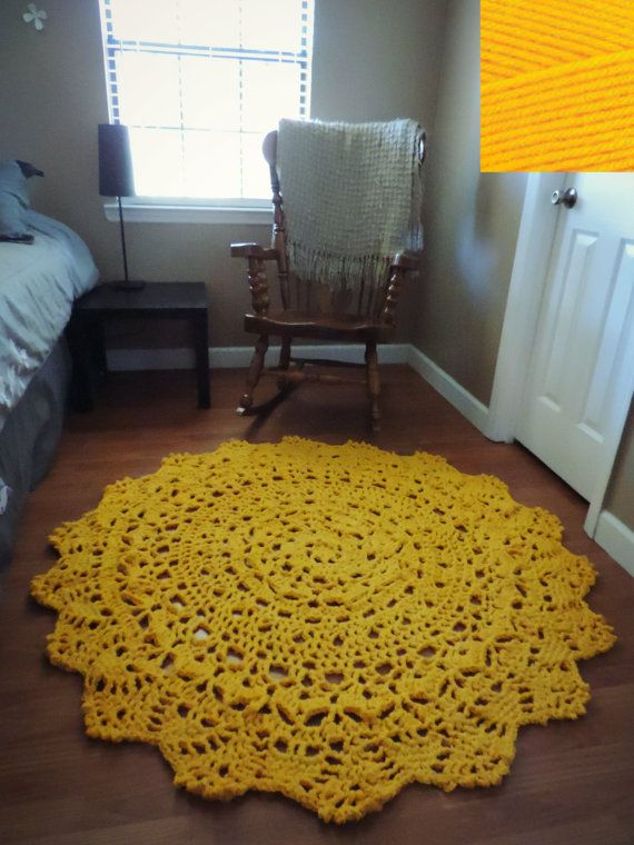 Giant Crochet Doily Rug, floor, sunflower golden yellow Lace- large area rug, Cottage Chic- Oversized- Rustic chic home decor- round rug