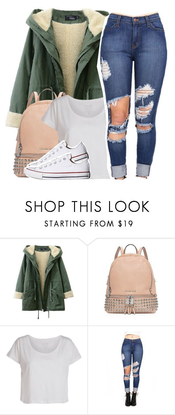 """Go tell your friends about it"" by queen-tiller ❤ liked on Polyvore featuring MICHAEL Michael Kors, Pieces, Converse, women's clothing, women's fashion, women, female, woman, misses and juniors"