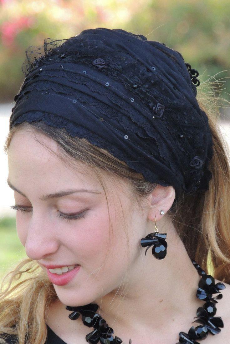 Imperial Black Laces Headband Tichel , Bandana Snood, Head Scarf, Half Head Covering,jewish headcovering,Scarf,Bandana,apron