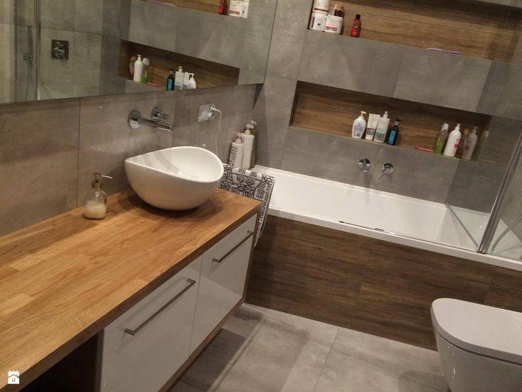 Realizacja projektu - łazienka beton z drewnem - zdjęcie od Anna Jędrzejuk - Łazienka - Styl Skandynawski - Anna Jędrzejuk